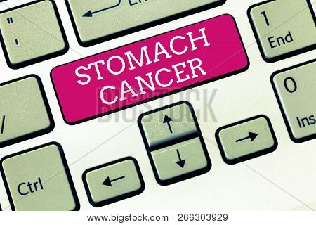 Handwriting text Stomach Cancer. Concept meaning Malignant tumor of the stomach that starts at the lining poster