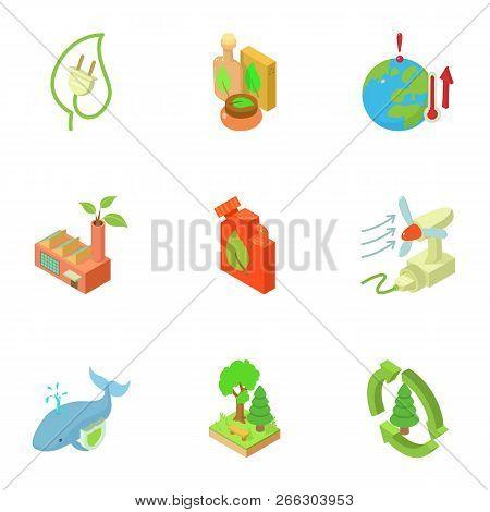 Ecological Compatibility Renewal Icons Set. Isometric Set Of 9 Ecological Compatibility Renewal Vect