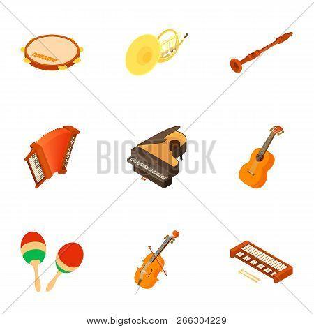 School Orchestra Icons Set. Isometric Set Of 9 School Orchestra Vector Icons For Web Isolated On Whi