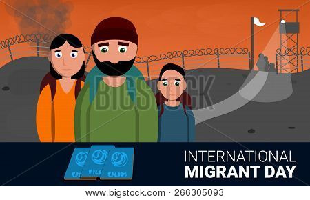 Homeless International Migrant Day Concept Banner. Cartoon Illustration Of Homeless International Mi