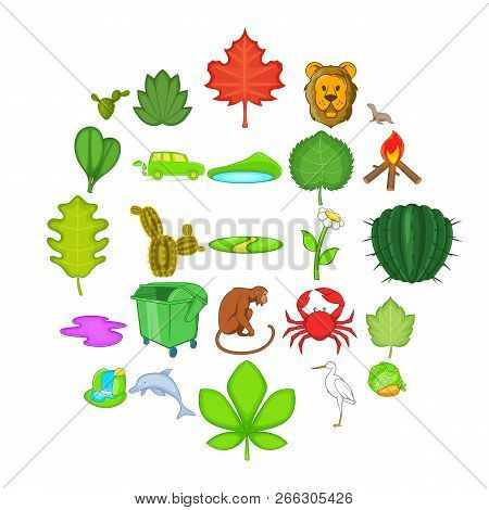 Ecology Sustain Icons Set. Cartoon Set Of 25 Ecology Sustain Vector Icons For Web Isolated On White
