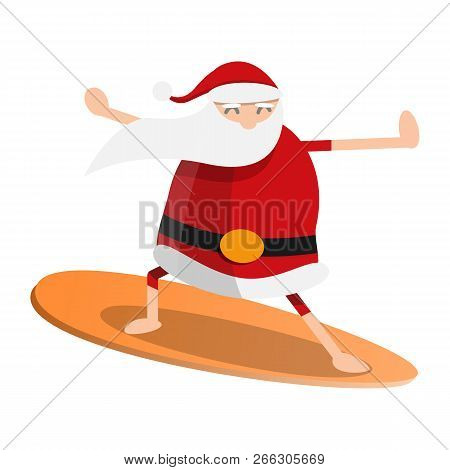 Santa Claus Surfing Icon. Cartoon Of Santa Claus Surfing Vector Icon For Web Design Isolated On Whit