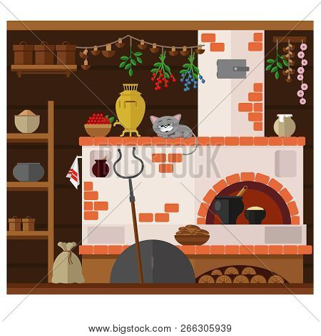 Interior Of Russian Village House With Russian Stove. Traditional Farm House Kitchen. Happy Cat Dozi