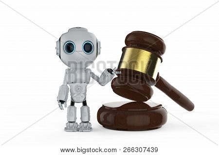 Cyber Law Concept With 3d Rendering Mini Robot With Gavel Judge