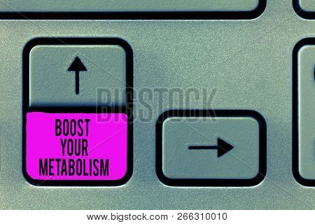 Writing note showing Boost Your Metabolism. Business photo showcasing Increase the efficiency in burning body fats poster