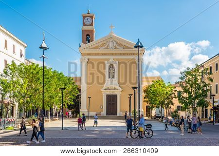 Cecina,italy - September 18,2018 - View At The Church Of Saints Giuseppe And Leopold In Cecina. Ceci