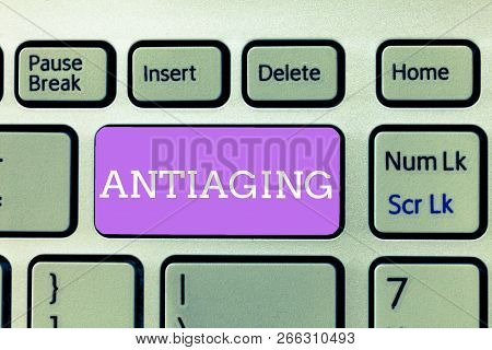 Writing note showing Antiaging. Business photo showcasing A product designed to prevent the appearance of getting older poster