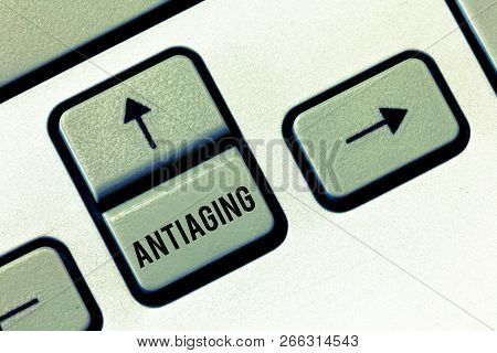 Handwriting text Antiaging. Concept meaning A product designed to prevent the appearance of getting older poster