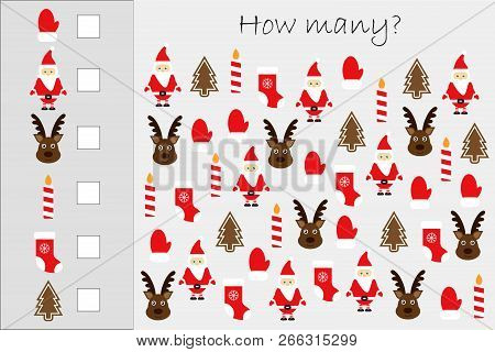 How Many Counting Game With Christmas Pictures For Kids, Educational Maths Task For The Development