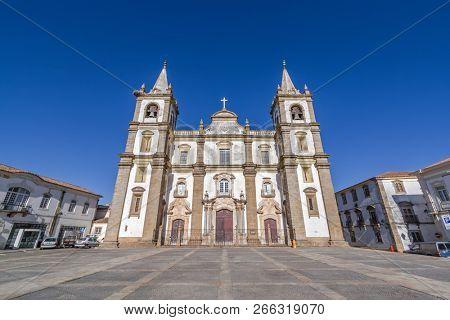 Portalegre Cathedral or Se Catedral de Portalegre and Town Hall Square. Mannerist style. Portalegre, Alto Alentejo, Portugal
