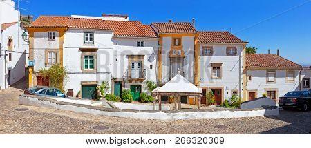 Jewish Quarter or Ghetto square with Fonte da Vila aka Village or Town Fountain the built during the Inquisition. Castelo de Vide, Portalegre, Portugal. 16th century