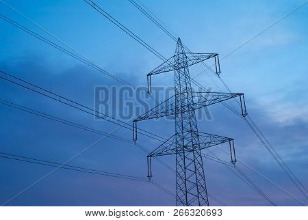Top Hamper Of A 380 Kilovolt Electric Power Pylon (lattice Boom) With 6 Phases And One Optical Groun
