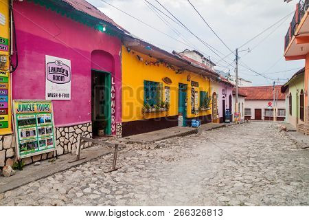 Flores, Guatemala - March 11, 2016 Cobbled Street In Flores Guatemala