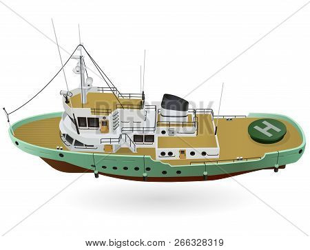 Research Ship, Marine Exploration Boat For Scientists. Rescue Vessel With Sonar, New Modern Motorboa