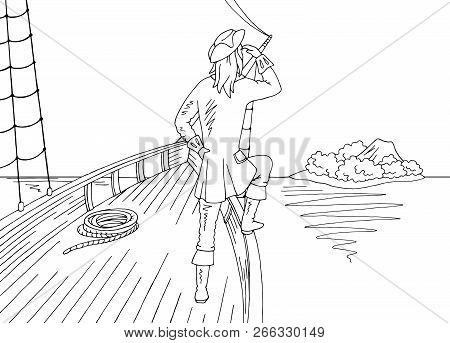 Sailor Standing On The Prow Of The Ship And Looking At The Island Graphic Black White Landscape Sket