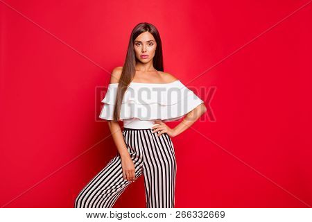 Portrait Of Tender Content Calm Thin Attractive Magnificent Lovable Fascinating Lady In Striped Pant