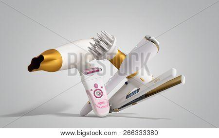 Set Of Equipment For Hair Care Hair Dryer, Epilator, Curling Iron, Hair Straightener 3d Render On Gr