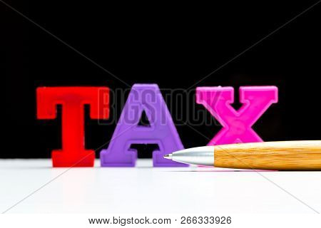Blank Note Paper With Tax. Object. Close Up. Macro Photography