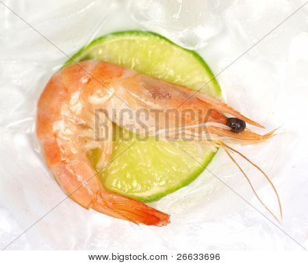 Macro shot of prawn on slice of limet poster