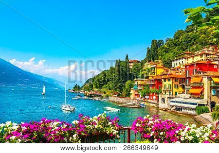 Varenna Town In Como Lake District. Italian Traditional Lake Village. Italy, Europe.