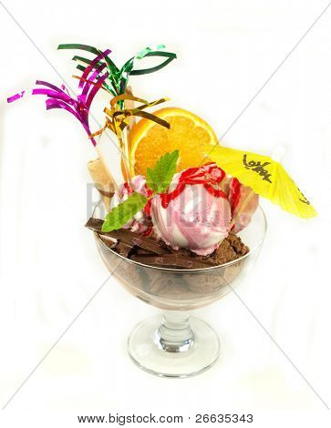 Ice cream in glass bowl on white background