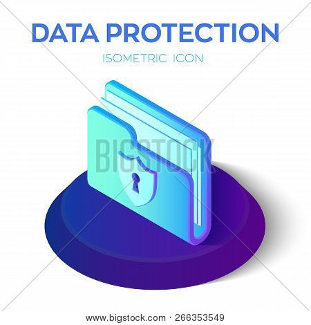 Folder Icon. 3d Isometric Locked Folder Sign. Data Protection Concept. Secure Data. Security Shield.