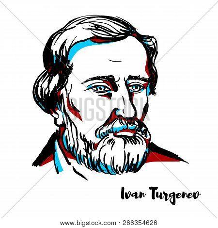 Ivan Turgenev Engraved Vector Portrait With Ink Contours. Russian Novelist, Short Story Writer, Poet
