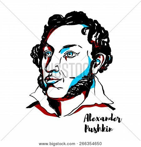 Alexander Pushkin Engraved Vector Portrait With Ink Contours. Russian Poet, Playwright, And Novelist
