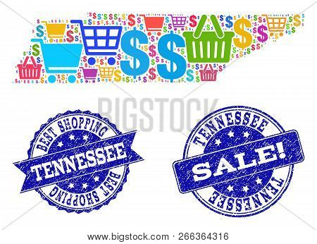 Best Shopping Combination Of Mosaic Map Of Tennessee State And Rubber Seals. Vector Blue Seals With