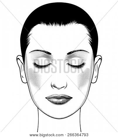 Anti aging treatment and plastic surgery concept. Beautiful young woman with closed eyes, perfect eyebrowes and full lashes. Vintage engraving stylized drawing.