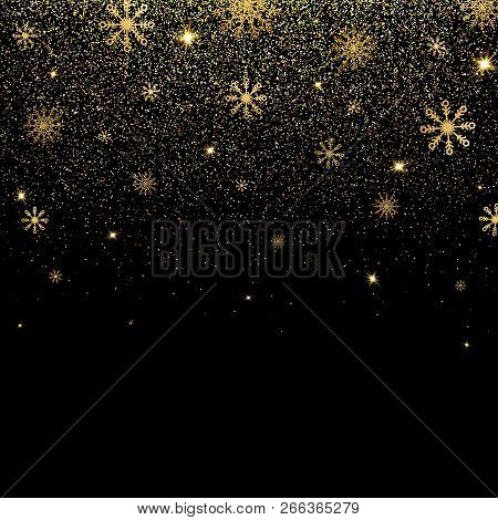 Christmas Background With Glitter And Shining Gold Snowflakes. Golden Glitter Texture With Glowing L