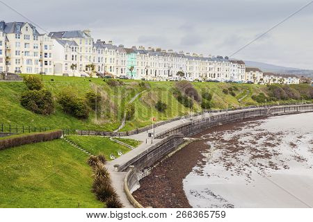 Panorama Of Port St Mary On Isle Of Man. Port St Mary, Isle Of Man.