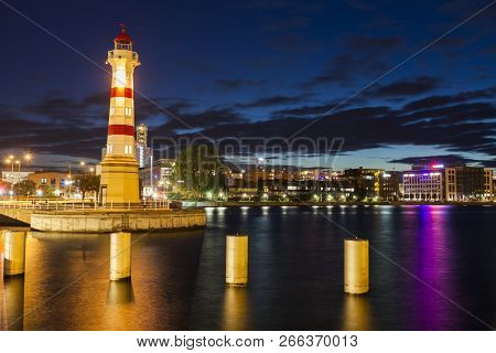 Lighthouse In Malmo In Sweden. Malmo, Scania, Sweden.
