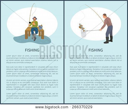 Fishing Posters Set With Titles And Text Sample. People Wearing Special Boots Waders Holding Rod And