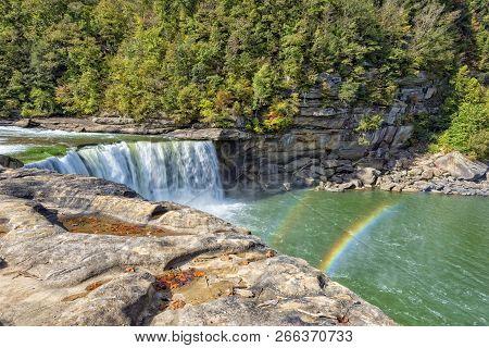 Rainbow On Cumberland Falls In Cumberland Falls State Park In Kentucky