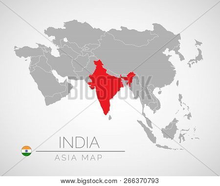 Map Of Asia With The Identication Of India. Map Of India. Political Map Of Asia In Gray Color. Asia