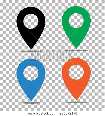 Location Pin Icon On Transparent. Pin On The Map Sign. Flat Style. Black, Green, Blue And Orange Loc