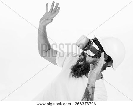 Man With Beard In Vr Glasses And Helmet, White Background. Virtual Reality Concept. Guy With Head Mo