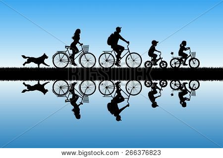 Family On Bikes In Park. Active Rest Of Parents With Children. Vector Illustration With Silhouettes