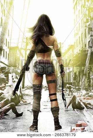 Training Day, Zombies Advancing On A Fully Prepared Post Apocalyptic Fearless Female With A Ruined C