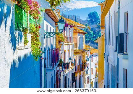 Colorful Illustration Of Architecture In Granada, Spain