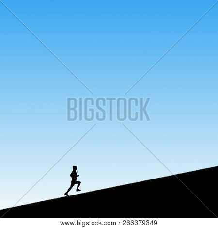 Man Runs Uphill In Park. Vector Illustration With Silhouette Of Male Runner. Blue Pastel Background