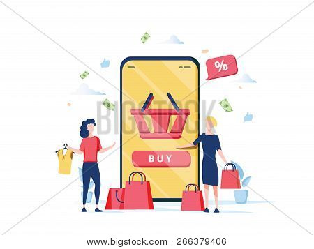 Online Shopping Concept With Characters. Mobile E-commerce Store With Flat People Buying Products Wi