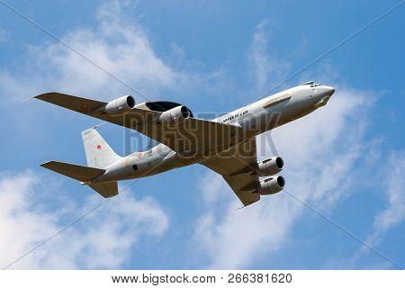 Cambrai, France - Jun 26, 2010: French Air Force Boeing E-3f Sentry Radar Plane In Flight.