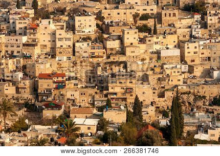 View From The Old Jersalem City Walls On Houses On A Hill In The Residential Area In East-jerusalem.