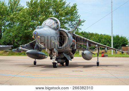 Leeuwarden, Netherlands - June 21, 2008: British Royal Air Force Harrier Jumpjet Fighter Aircraft On