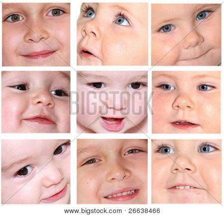 Various babies smiles, faces details