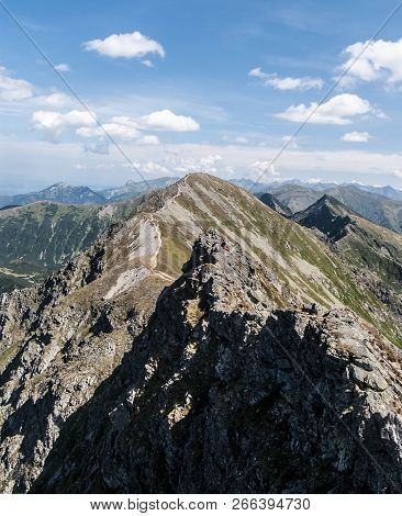 Spectaculra Tatra Mountains Panorama With Many Peaks From Hiking Trail Bellow Banikov Peak On Rohace
