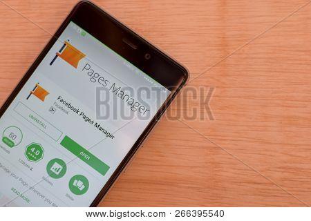 Bekasi, West Java, Indonesia. November 6, 2018 : Facebook Pages Manager Dev App On Smartphone Screen