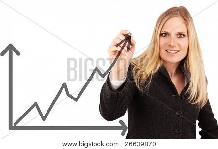 Attractive businesswoman writing an arrow ob business growth.Isolated on white background, focused on pencil